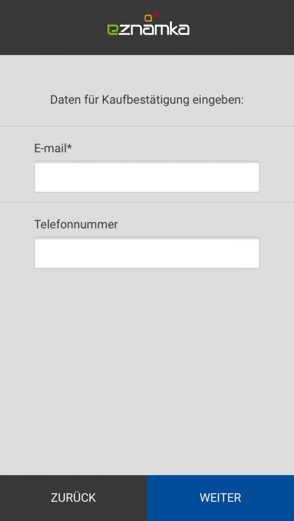 Angabe der Kontaktdaten für die E-Vignette.