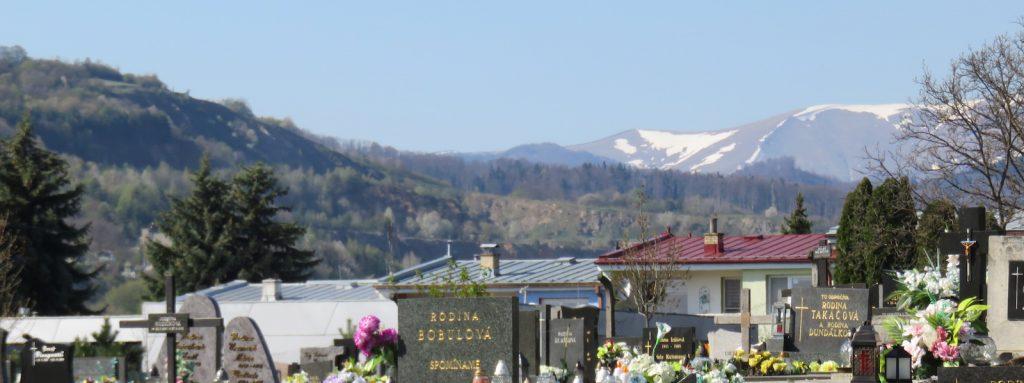 Friedhof mit Ausblick auf die Berge
