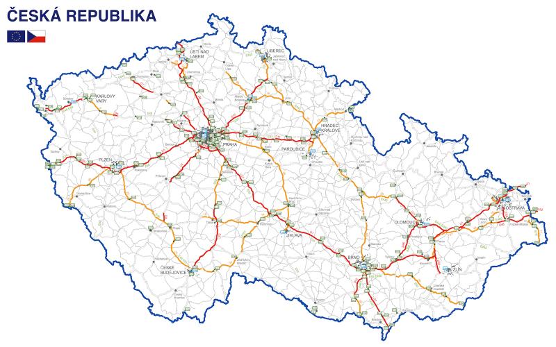 Netz der mautpflichtigen Strecken in Tschechien