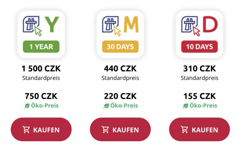 Preise für die Vignette Tschechien